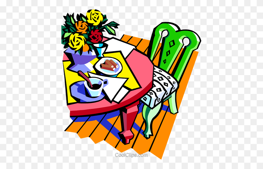 447x480 Food And Diningdinner Table Royalty Free Vector Clip Art - Table Setting Clipart