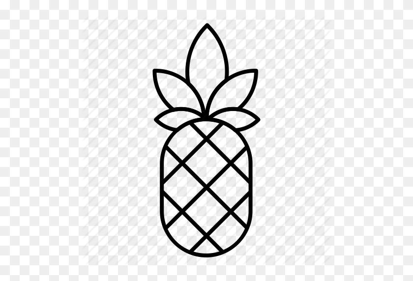 Food, Fruit, Gastronomy, Health, Kitchen, Pineapple, Vegan Icon - Pineapple Black And White Clipart