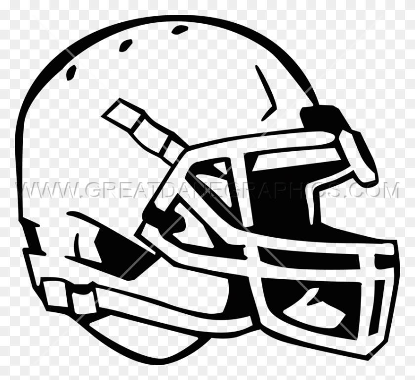 Football Helmet Angled Production Ready Artwork For T Shirt Printing - Football Helmet Clipart Black And White