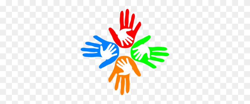 Four Colored Hands Clip Art - Four Clipart