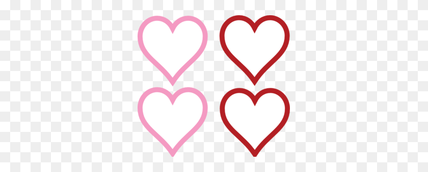 Four Hearts Together Clipart - Hearts And Flowers Clipart