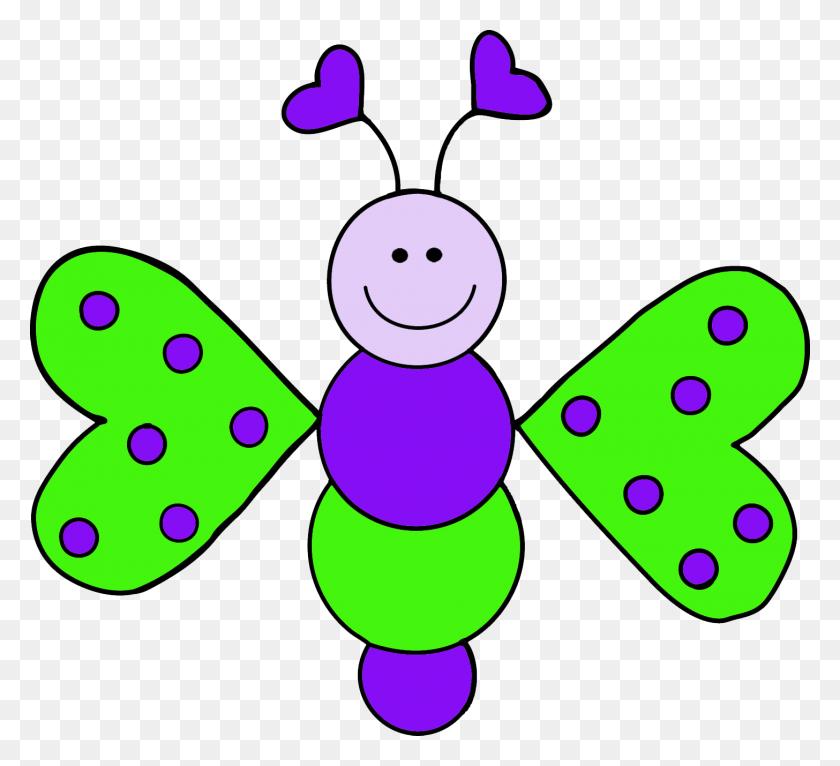 Four Love Bug Butterflies Free Clip Art - Cute Butterfly Clipart