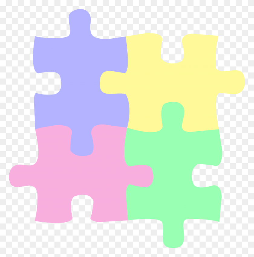 Four Pastel Colored Puzzle Pieces - Free Clipart Puzzle Pieces
