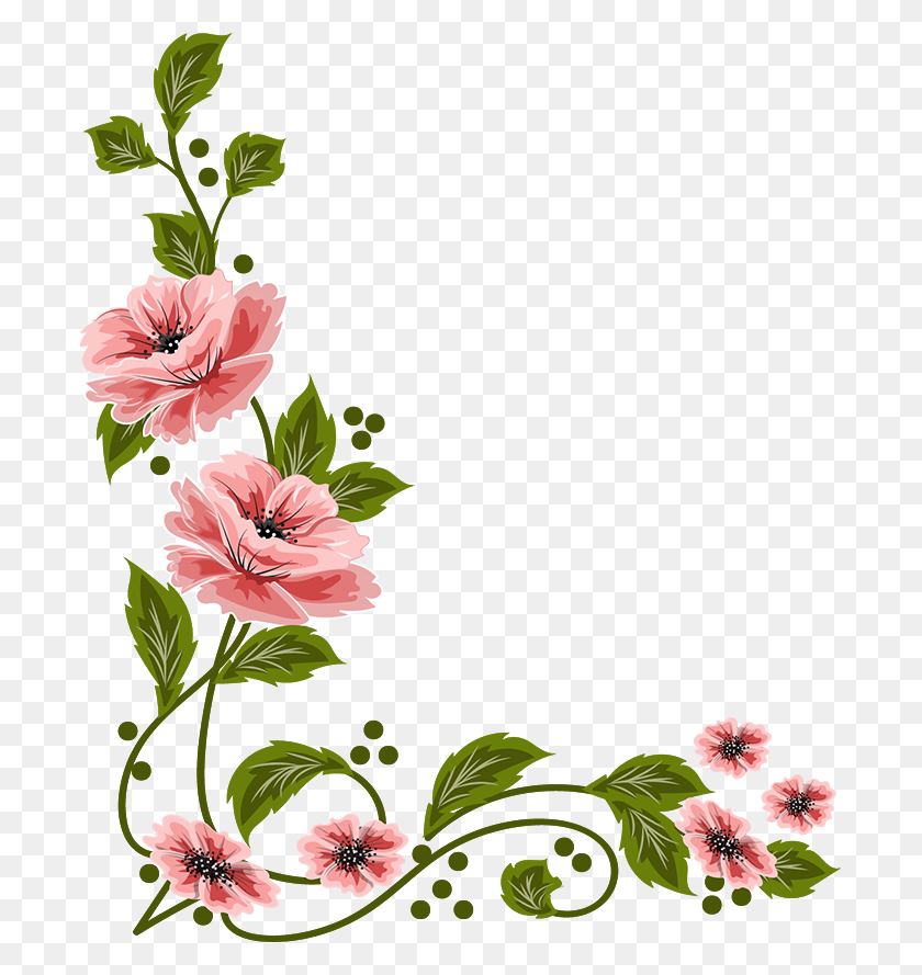 Frames And Boarders Flowers - Painting PNG