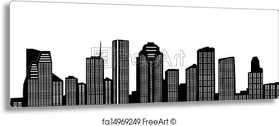 Free Art Print Of Houston Skyline Houston Skyline Freeart - Houston Skyline Outline PNG