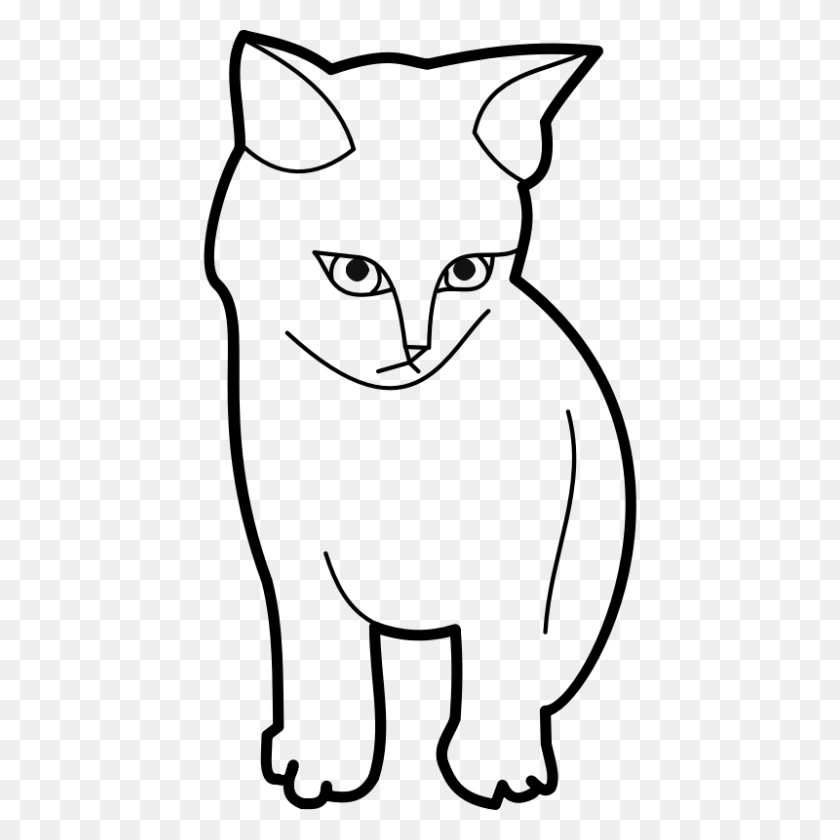 Free Black Cat Outline - Black And White Clipart Cat