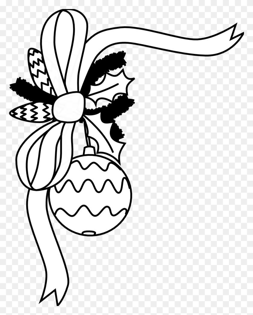 Free Christmas Clip Art Black And White - Pretty Border Clipart