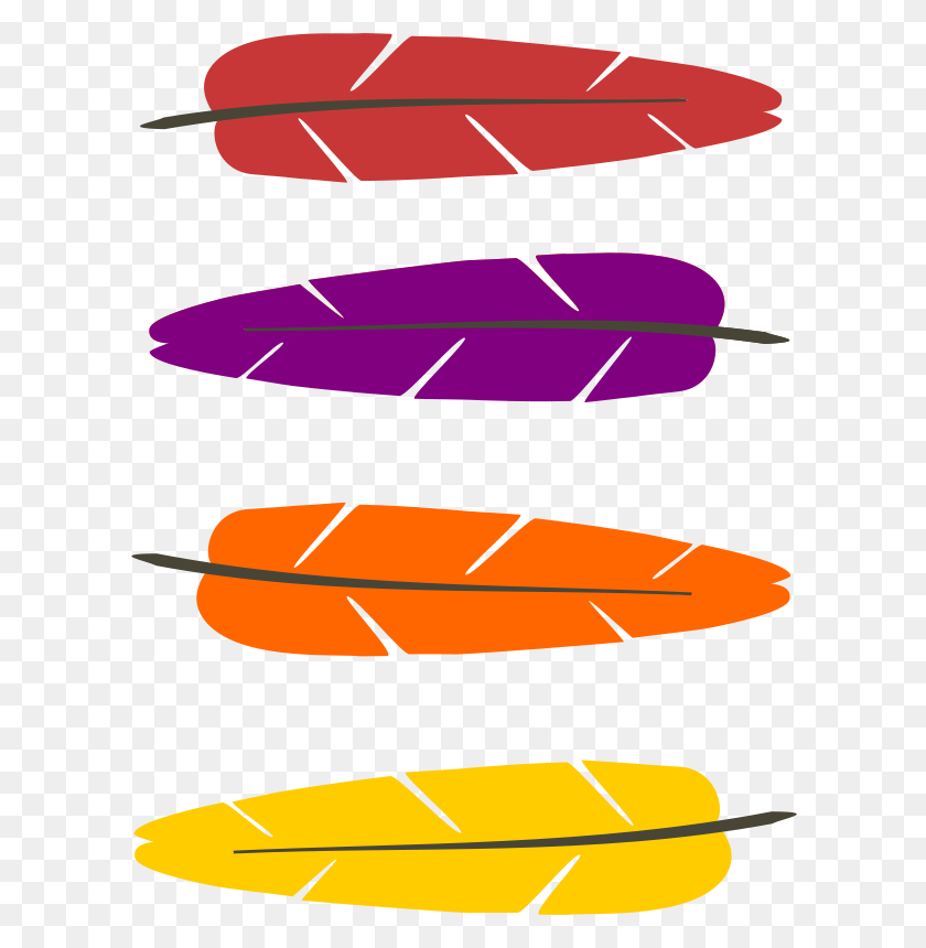 611x800 Free Clipart Colored Feathers Pauthonic - Free Feather Clip Art
