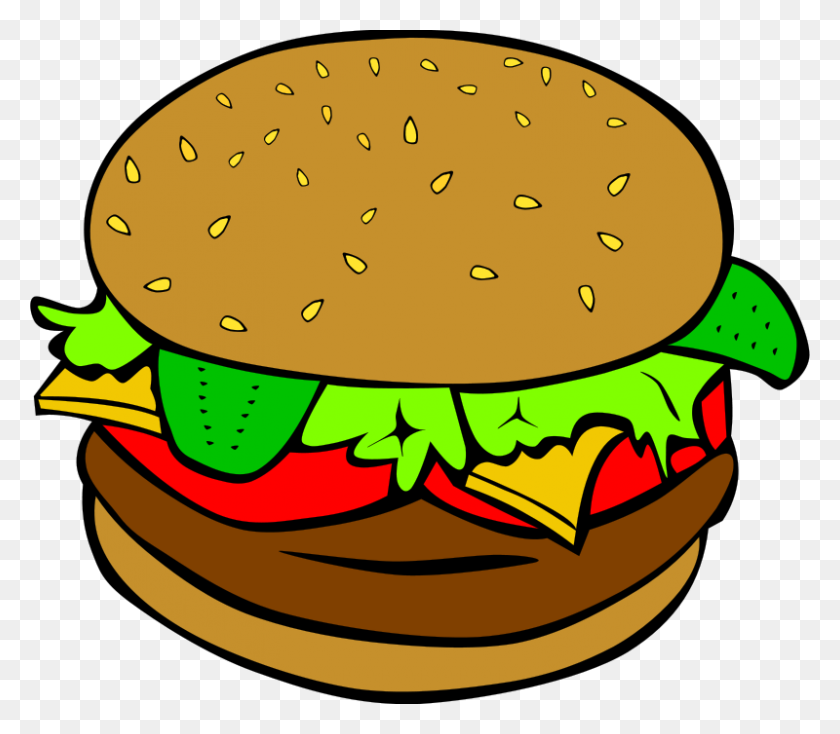 800x692 Free Clipart Fast Food, Lunch Dinner, Hamburger Gerald G - Lunch Clipart