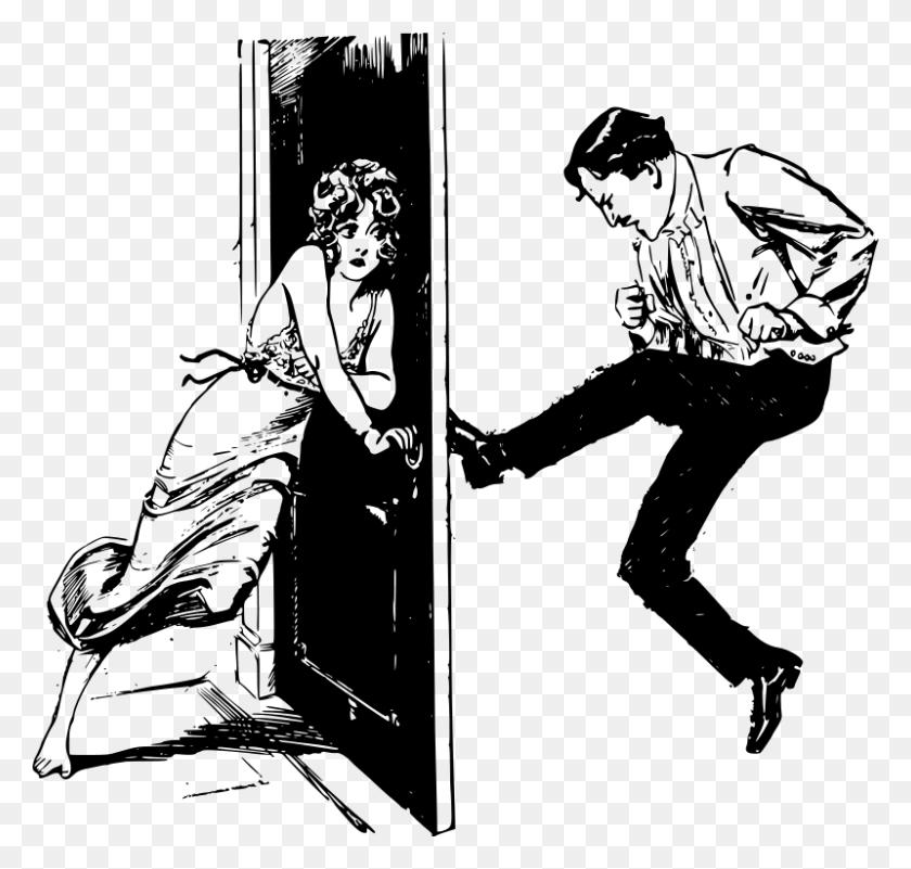 Free Clipart Man Kicks Door - Nightgown Clipart
