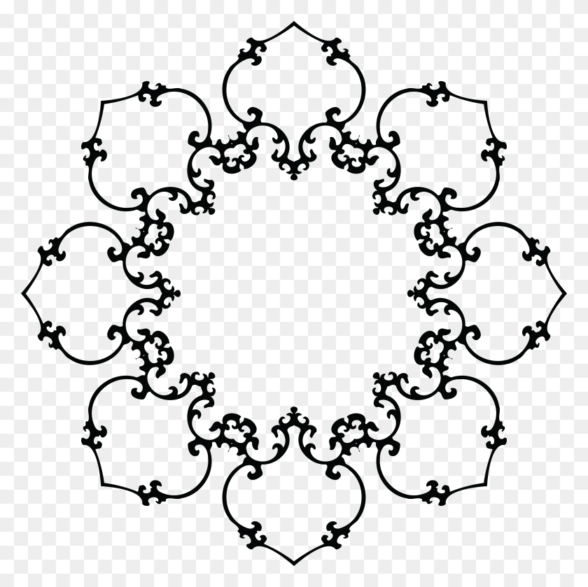 Free Clipart Of A Fancy Floral Frame Black And White - Fancy Circle PNG