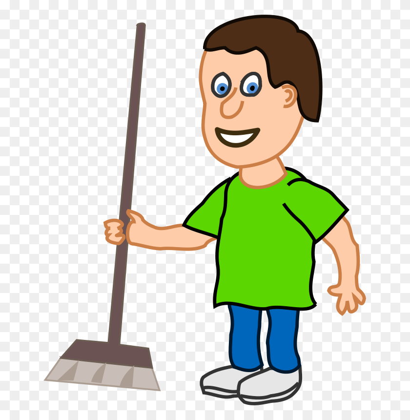 Free Clipart Young Housekeeper Boy With Broomstick Qubodup - Tolerance Clipart