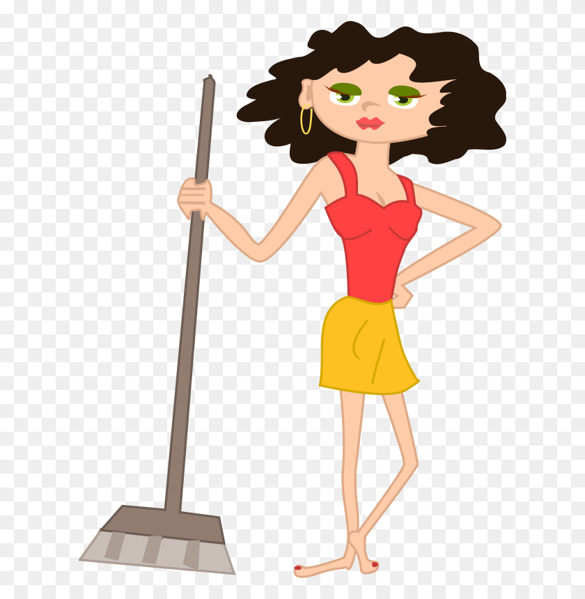 Free Clipart Young Housekeeper Girl With Broomstick Olku - Young Clipart