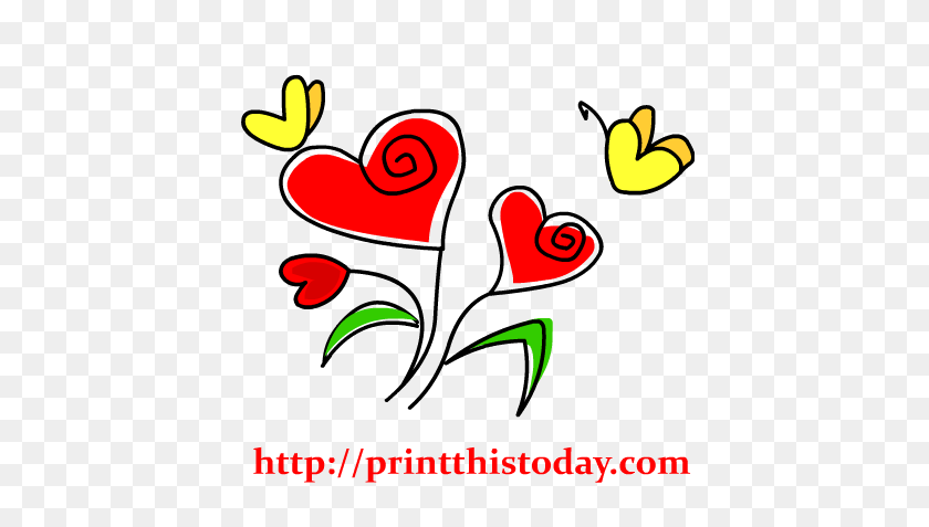 Free Hearts Clip Art - Hearts And Flowers Clipart