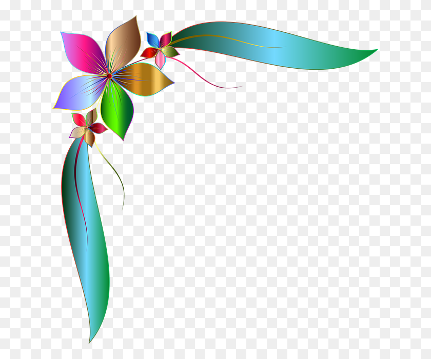 Free Photo Flower Leaves Decorative Corner Border Design - Corner Border PNG