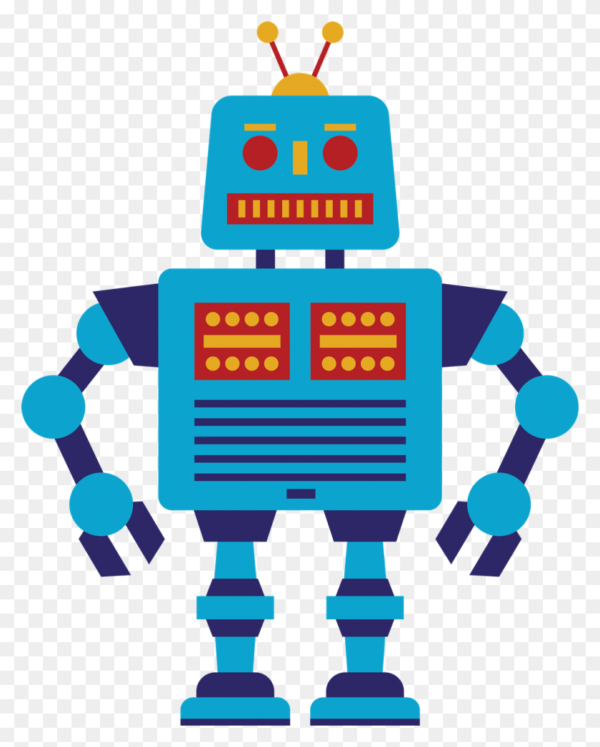 Free Retro Blue Robot Clip Art - Retro Christmas Clipart