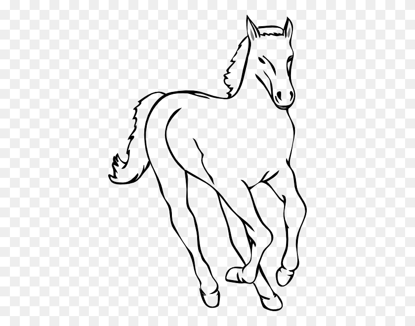 Free Running Horse Outline - Quarter Horse Clipart