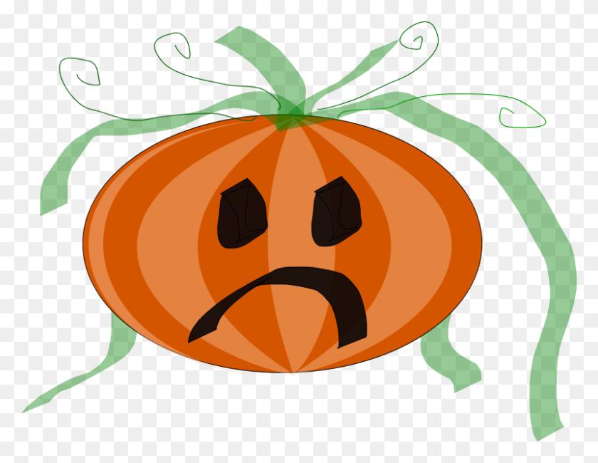 Free Vector Decorated Sad Pumpkin Clip Art - Sad Clipart