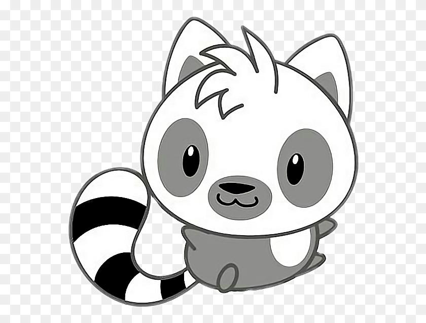 Freetoedit Cute Kawaii Racoon Grey White Black - Racoon Clipart