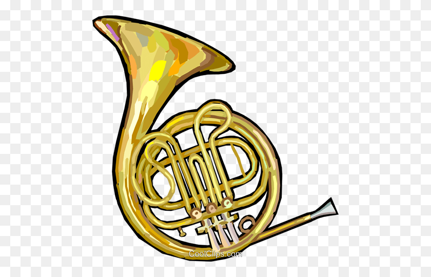 480x480 French Horn Royalty Free Vector Clip Art Illustration - Mellophone Clipart