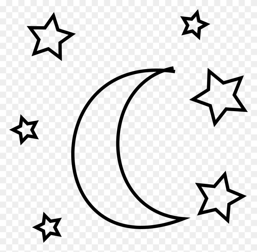 Ftestickers Moon Stars Blackandwhite Doodle - Moon Stars Clipart