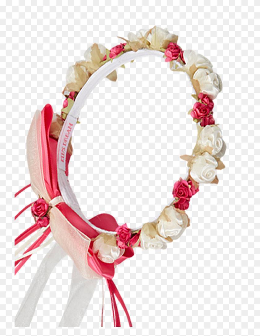 Fuchsia Silk Floral Crown Wreath W Satin Ribbons Girls Rachel - Flower Crown PNG