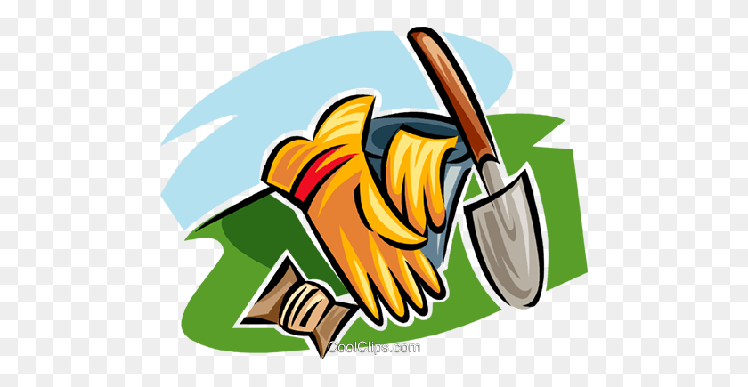 Gardening Gloves And Gardening Spade Royalty Free Vector Clip Art - Spade Clipart