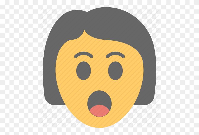 Gasping Face, Girl Emoji, Girl Surprised, Open Mouth, Shocked Icon - Shocked Emoji PNG