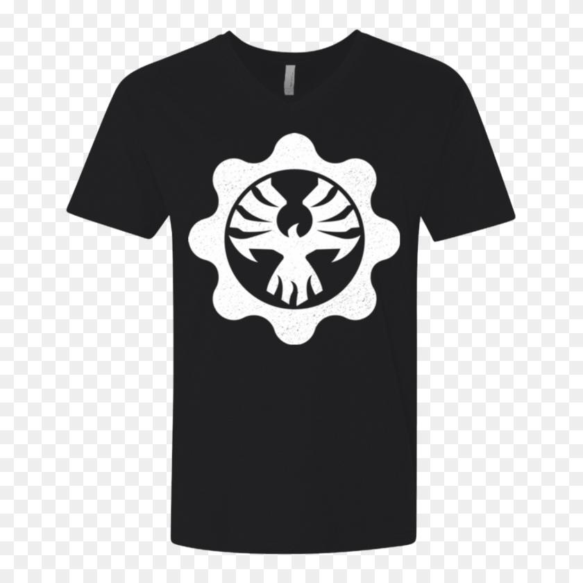 Gears Of War Cog Emblem Men's Premium V Neck Pop Up Tee - Gears Of War Logo PNG