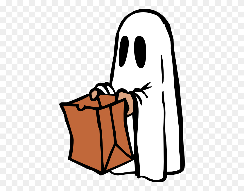 Ghost With Bag Colour Clip Art - Ice Bag Clipart