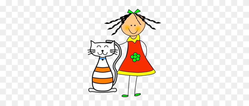 Girl Clipart Cat - Cartoon Girl Clipart
