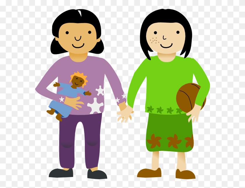 Girl Friendship Clip Art - Sharing Clipart