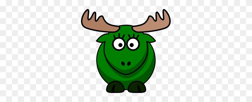 299x279 Girl Green Moose Clip Art - Moose Antlers Clipart