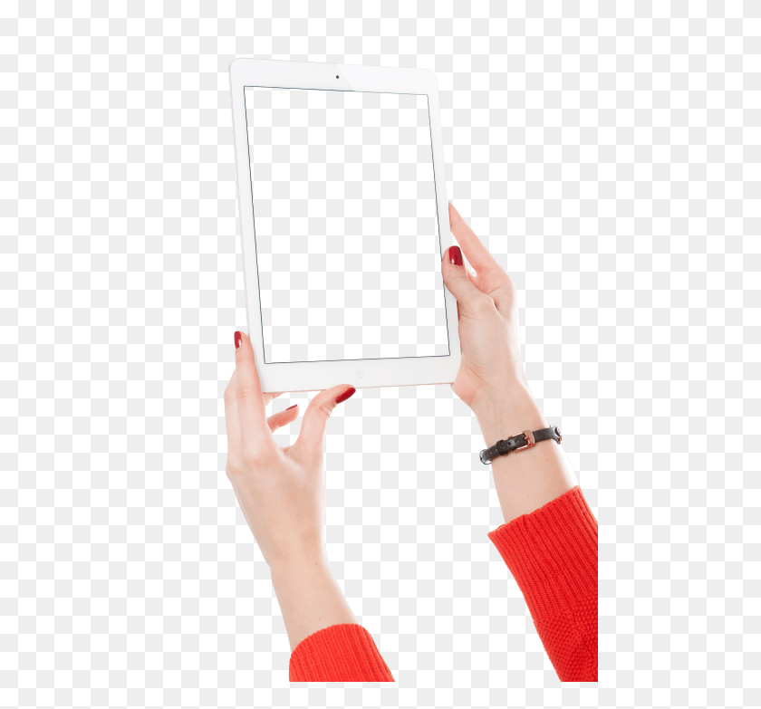 Girl Hand Holding White Tablet Png - Hand Holding PNG
