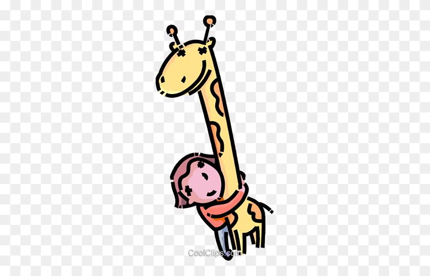 Girl Hugging A Stuffed Animal Royalty Free Vector Clip Art - Hug Clipart