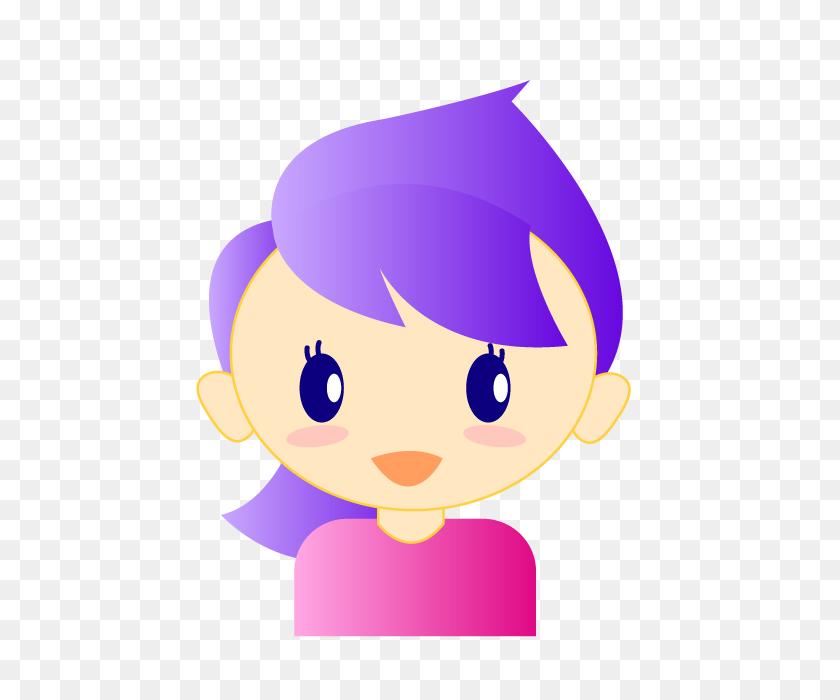 Girl Lady Shabby Sparkling Purple Hair Cute Girl - Cute Girl Clipart