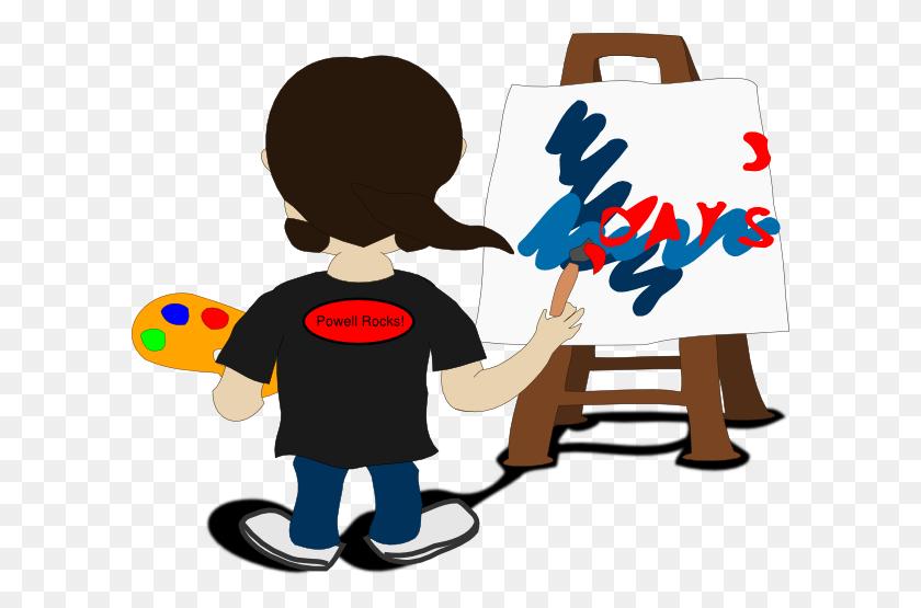 Girl Painting On Easel Clip Art - Easel Clip Art