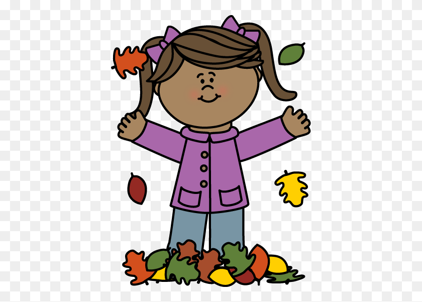 Girl Playing In Leaves Clip Art - Girl Playing Clipart