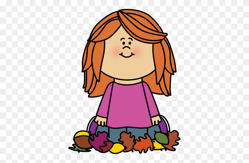 Girl Sitting In Leaves Clip Art - Pile Of Leaves Clipart