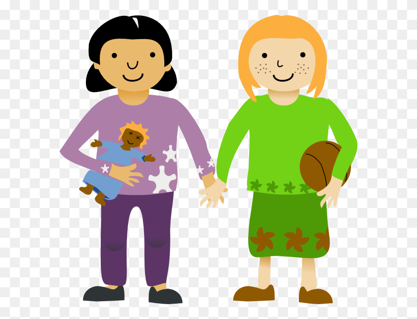 Girls Playing Two Little Girls Clip Art - Students Playing Clipart