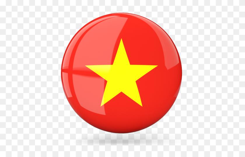 Glossy Round Icon Illustration Of Flag Of Vietnam - Vietnam Flag PNG