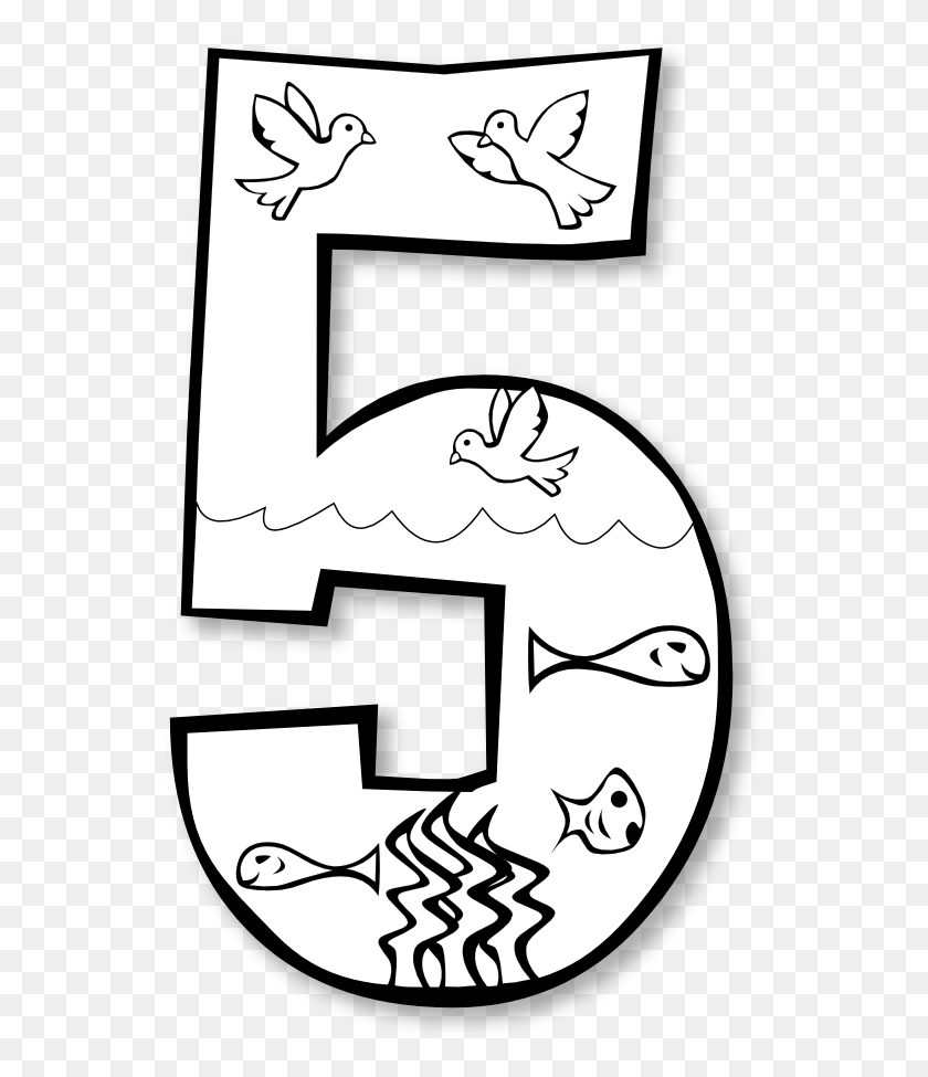 Gods Creation Coloring Pages Day Creation Day Birds Fish - Coloring Pages PNG