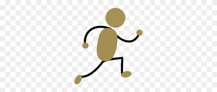 Gold Jogging Man Clip Art - Jogging Clipart