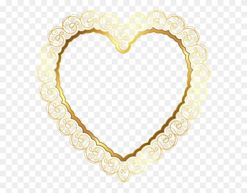 Gold Lace Heart Border Decoration Frame Deco Accents - Lace Border Clipart