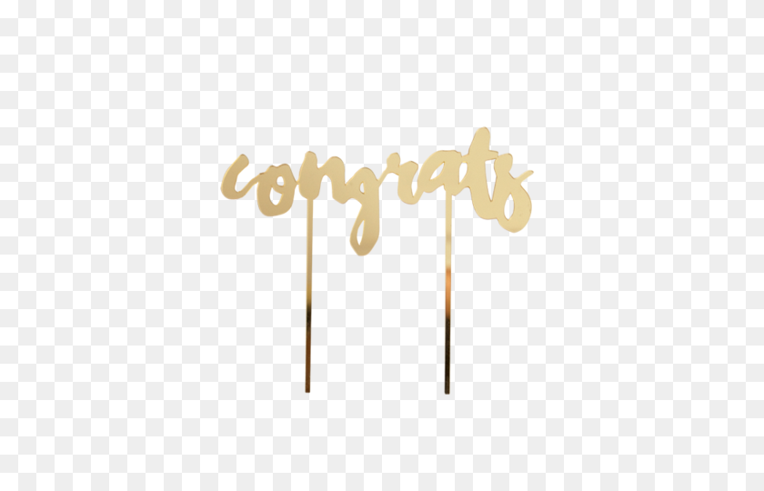 Gold Mirror Congrats Cake Topper Bonjour - Congrats PNG