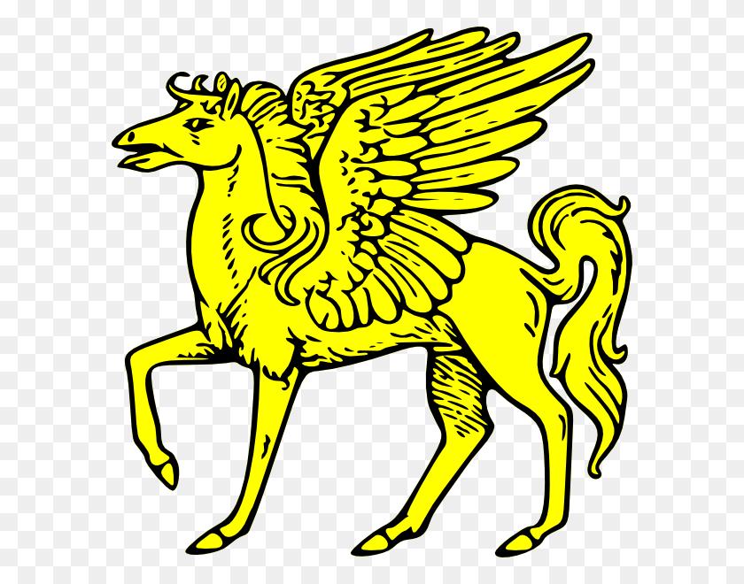 Gold Pegasus Symbol Clip Art - Myth Clipart