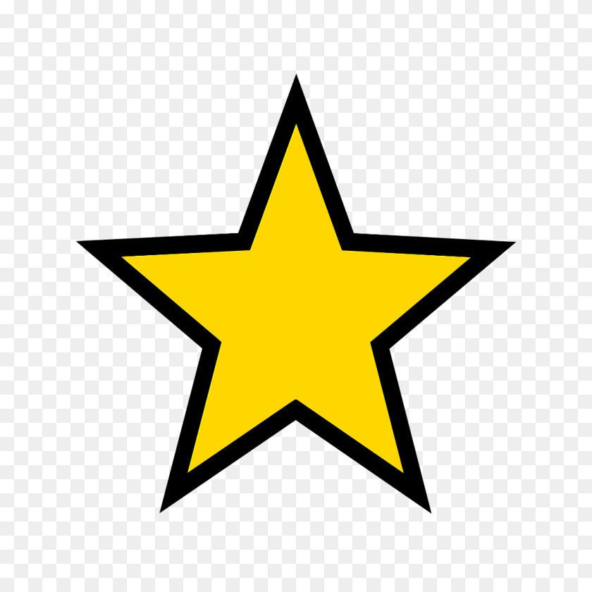 Gold Star - Gold Border PNG
