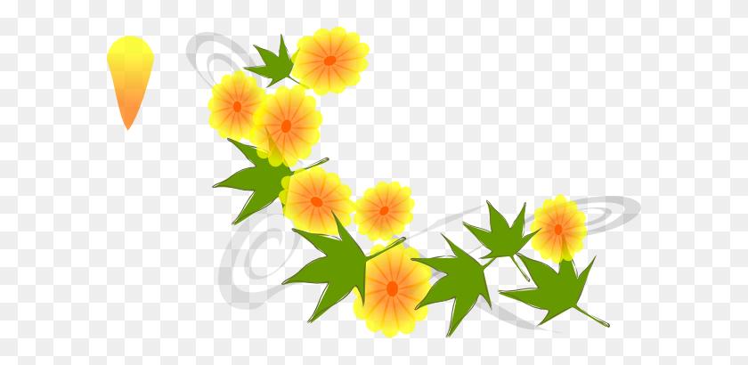 Golden Zinnias Wreath Clip Art Flower Wreath Clipart