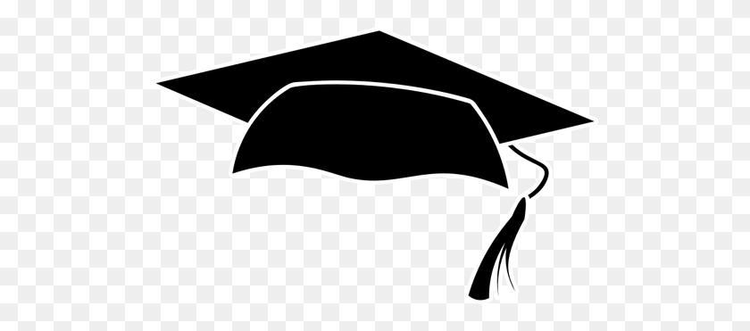 Graduation Cap Silhouette - White Graduation Cap Clipart