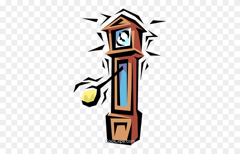 Grandfather Clock Royalty Free Vector Clip Art Illustration - Grandfather Clipart